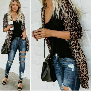 Sweaters - Leopard animal print duster lightweight cardigan